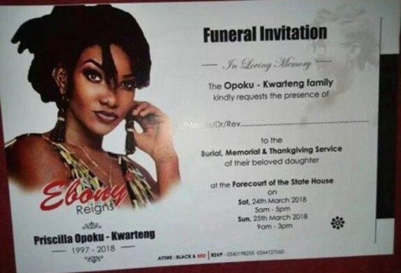 Ebony's Funeral Invitation Out